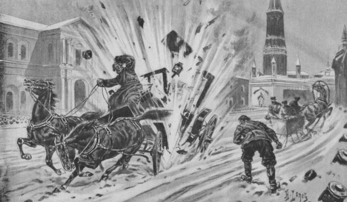 Убийство князя Сергея Александровича - картина из французского журнала ХХ века.