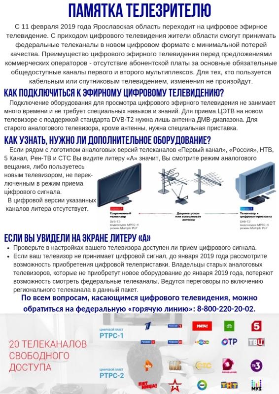 Рыбинск готов к переходу на цифровое эфирное телевещание